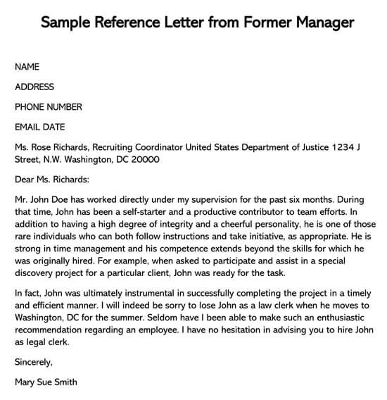 Recommendation Letter For Employee From Manager from www.doctemplates.net