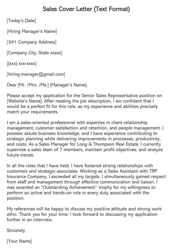 Sales Cover Letter (Text Format)