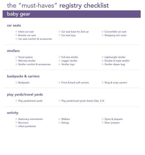 Sample Baby Gift Registry Checklist