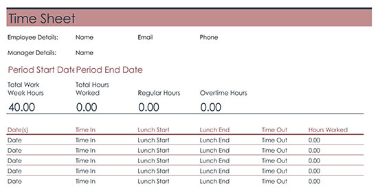 Sample Employee Time Sheet Template
