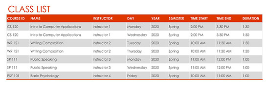 Semester Work at a Glance Schedule