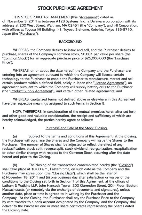 Stock Purchase Agreement Sec