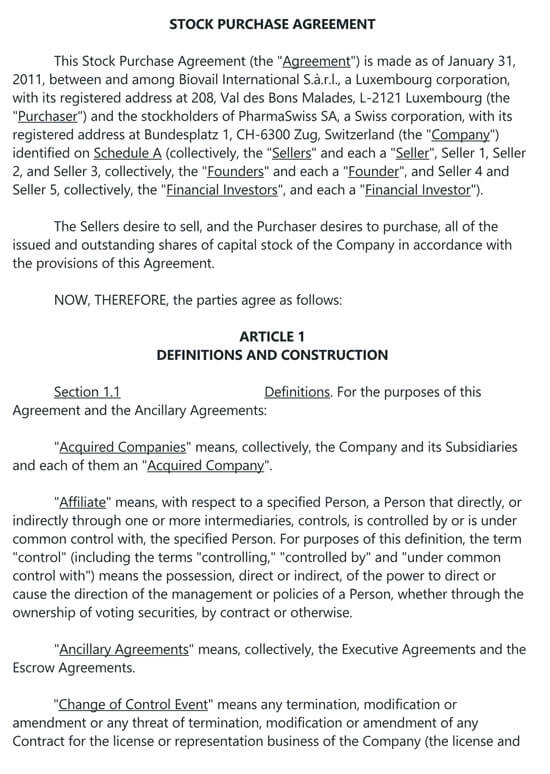 Termination Of Stock Purchase Agreement