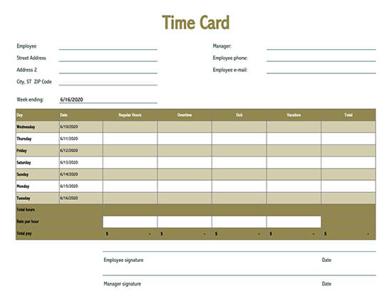 daily time card template