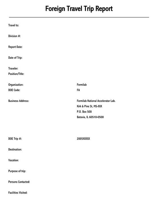 Duty travel report template