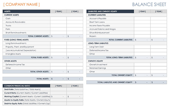 Trucking Company Balance Sheet Template