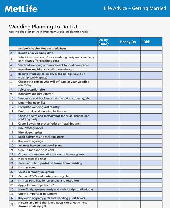 printable wedding checklist
