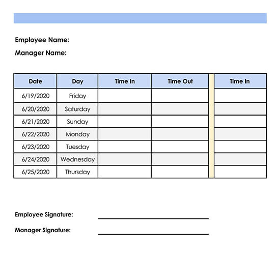 Weekly Employee Timesheet Excel