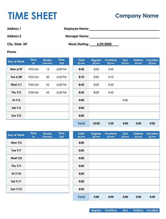 Weekly Timesheet for Consultants