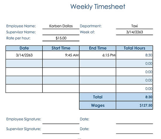Weekly Timesheet with Rates for Consultant