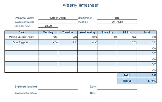 Weekly Timesheet with Tasks for Consultant