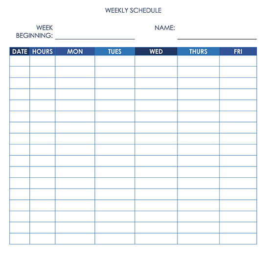 Work Schedule 5-Day with Notes Word
