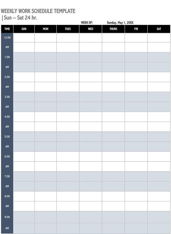 Work Schedule Template Excel from www.doctemplates.net