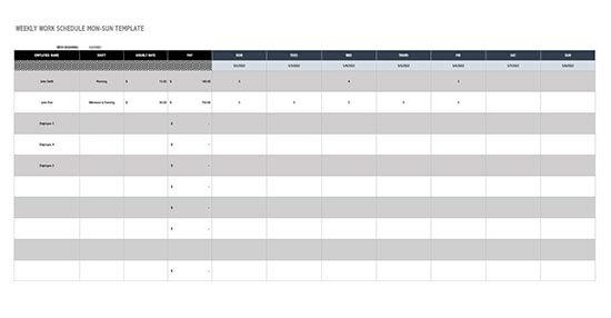 employee schedule template - google sheets 02