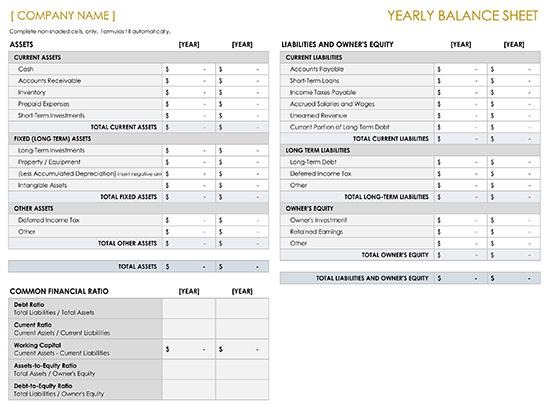 Yearly Balance Sheet Template
