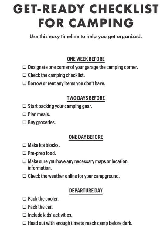 Get-Ready Checklist For Camping