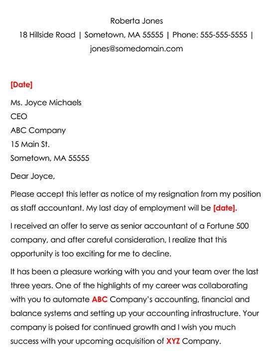 Best Resignation Letter Sample