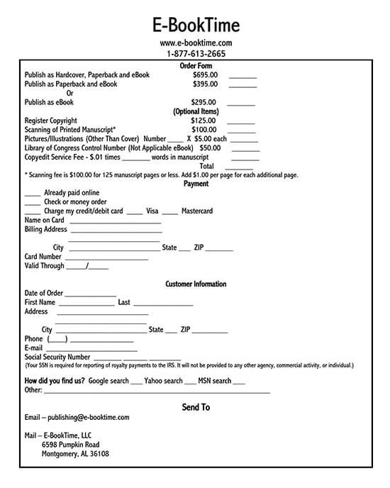 sales order forms free printable