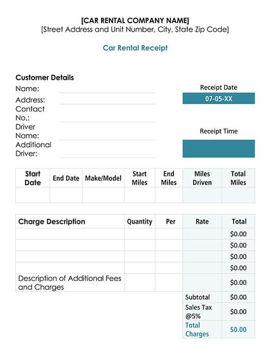 Car Rental Receipt