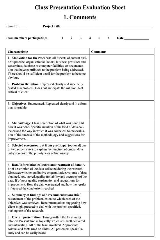 student presentation evaluation form pdf
