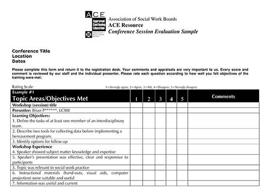 workshop feedback form for students
