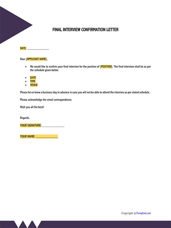 company confirmation letter