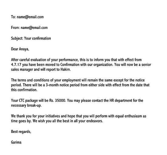 confirmation letter for job