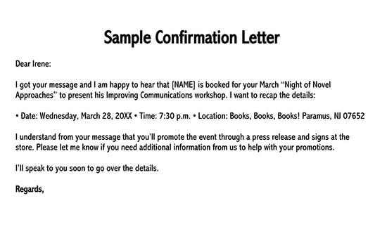 confirmation letter format 01