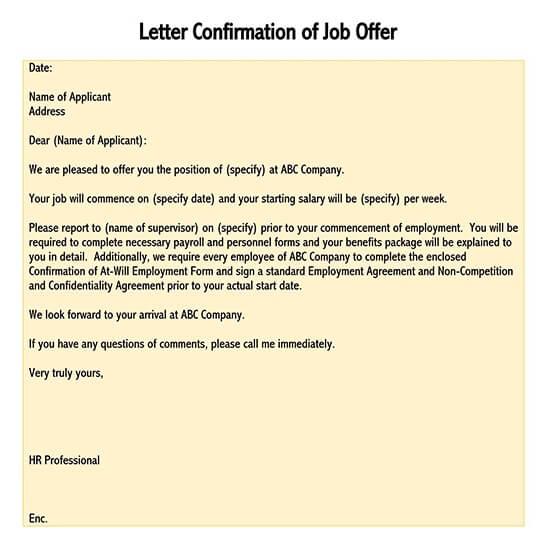 confirmation letter for job 01