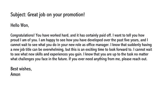 sample letter for new job assignment