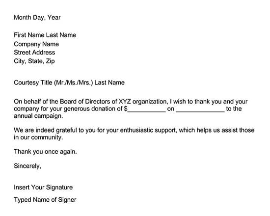 Corporate Donor Thank You Letter