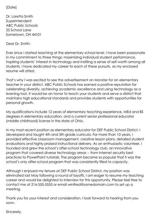 Cover Letter For Teacher Job Application
