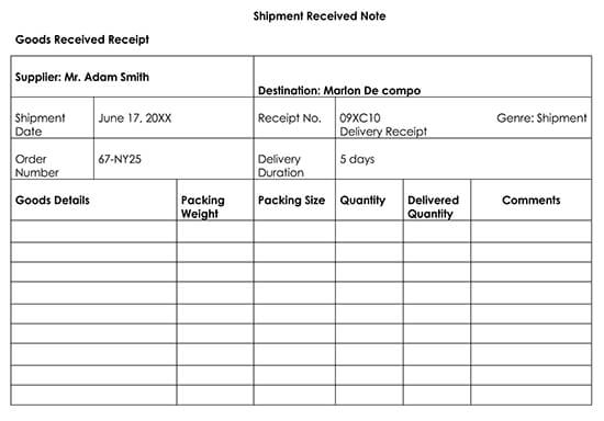 Delivery Receipt Template Example 01
