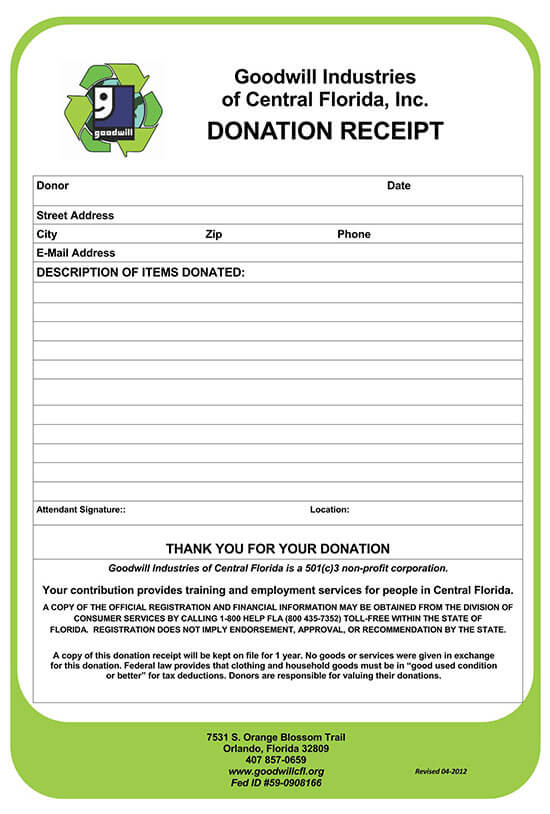 donation receipt letter template