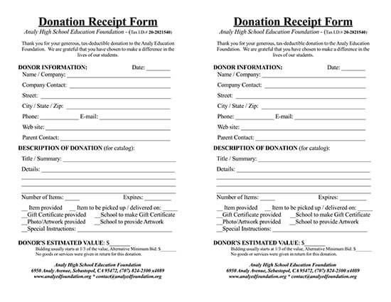 donation receipt template excel 04