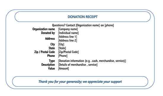 donation receipt template excel 06