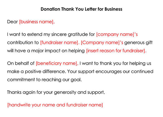 Donation Thank You Letter Template for A Business