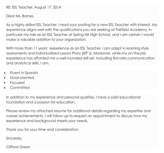 ESL Teacher Cover Letter Example