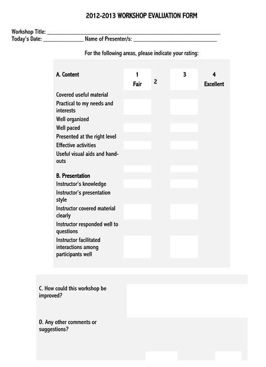 participant feedback form for workshop 01