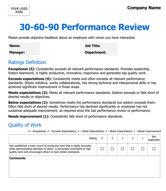 Employee Performance Evaluation Form Doc