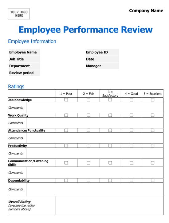 Performance Evaluation Form Pdf