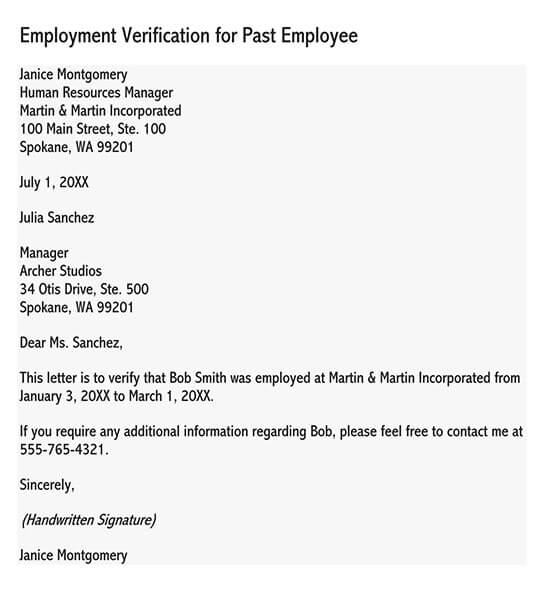 letter of employment sample