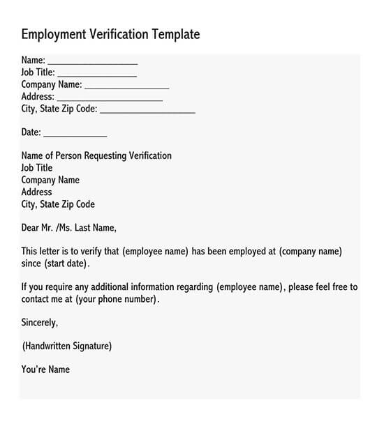 how to request employment verification letter from employer
