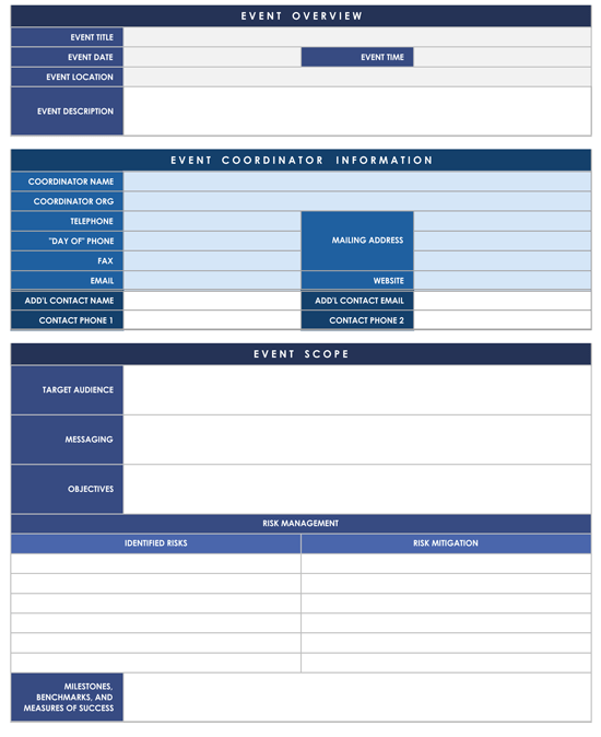 Event Planner Template Sample