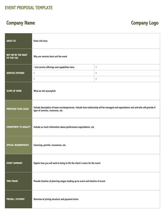 church event proposal template