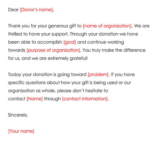 Example Donation Thank You Letter 01