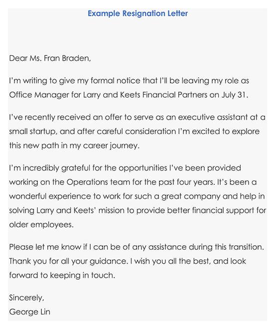 Example Resignation Letter 02