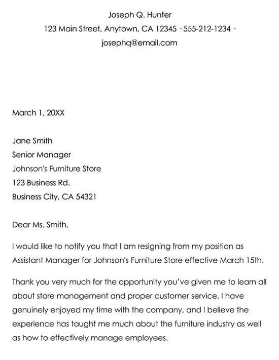 Example Resignation Letter 03