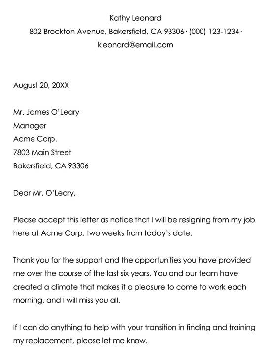 Example Resignation Letter 04