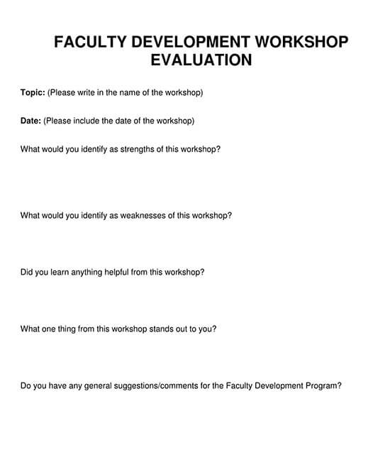 feedback form for teachers workshop